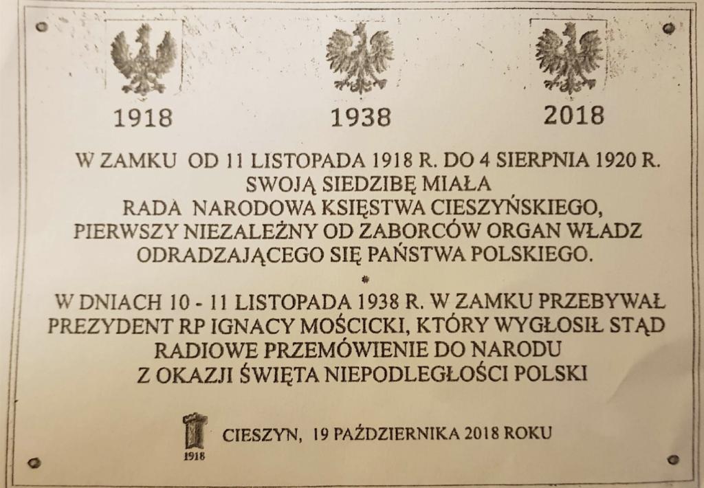 Tablica uroczyście odsłonięta 20 października 2018 roku tablica na cieszyńskim zamk