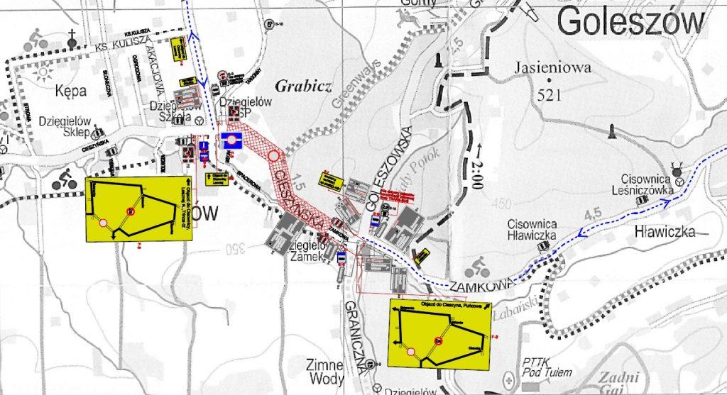 Mapa objazdów ul. Zamkowej w Dzięgielowie