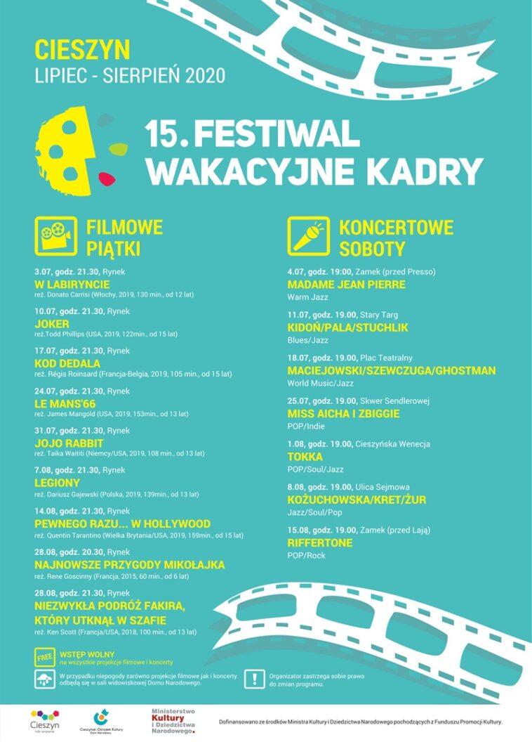 15. FESTIWAL WAKACYJNE KADRY - koncertowe soboty